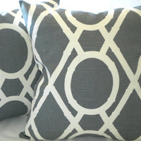 Set of Charcoal grey pillow covers, Grey and light creme 16 x 16
