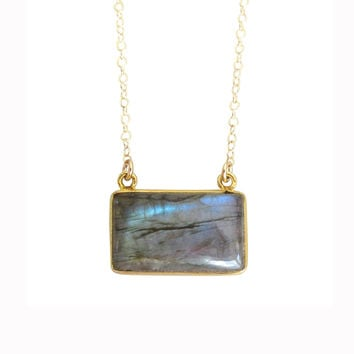 Labradorite Gemstone Bar Necklace
