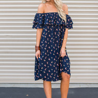 Birds of a Feather Off-The-Shoulder Dress