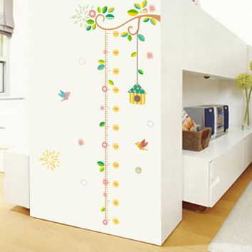 Flower  Birdcage birds Tree PVC Height Measure Wall Stickers Home Decor Removable Kids Baby Nursery Bedroom Mural Poster Decal
