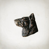 Animal Brooch Wolf, copper unisex gothic jewelry