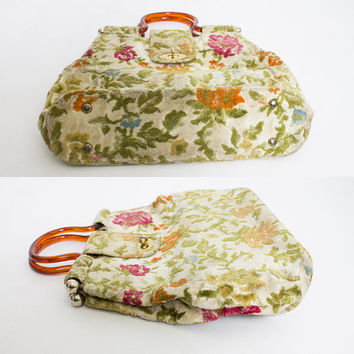 Vintage 1960s Purse - Large floral Carpet Bag Boho Lucite Tote 60s