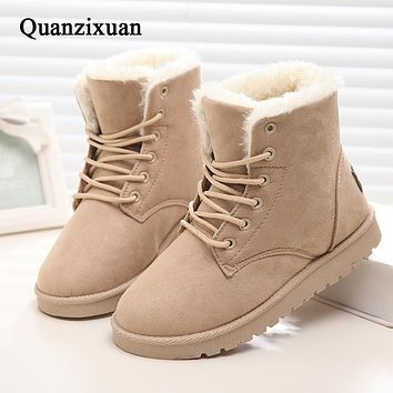 Women Boots Flock Ankle Snow Boots Women Shoes Warm Fur Short Plush Women Winter Boots Lace-Up