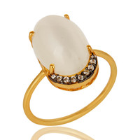 14k Gold Vermeil Sterling Silver White Moonstone Gemstone Stacking Ring With CZ