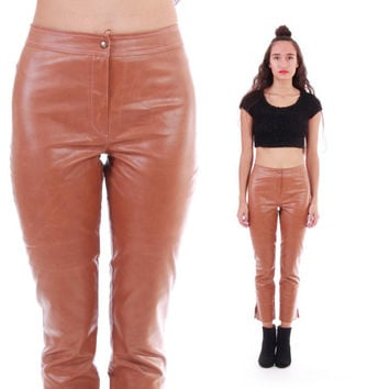 90s Vegan Leather Toffee Pants Cropped Capri Fitted Skinny High Waist Shiny Boho Hipster Vintage Clothing Made in France Womens Size Small