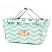 Chevron Market Tote Mint  - Monogrammed Personalized Bag Picnic Basket