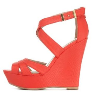 Tangerine Strappy Cut-Out Platform Wedges by Charlotte Russe