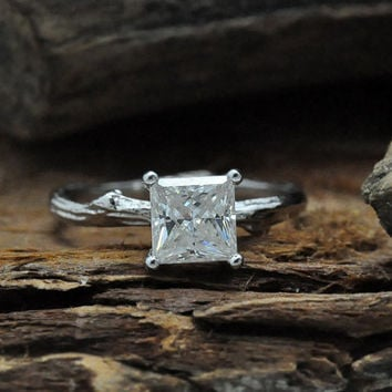 Twig engagement ring/ princess cut moissanite/ 14k white gold