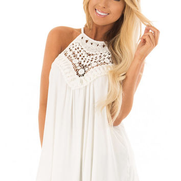 Daisy White Tank Top with Sheer Lace Chest