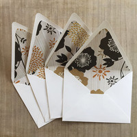A2 Envelopes -Set of 4 -  Paper lined  euro contour flap envelopes, black, white, mustard,  Floral, Flowers, Stationary, modern,