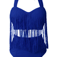 Blue High-Waisted Fringe Bikini