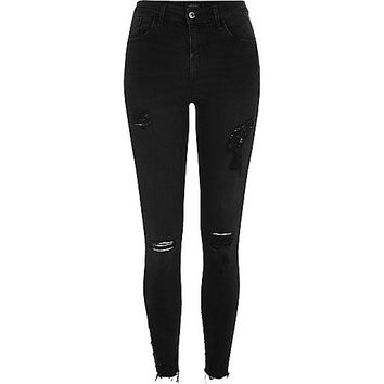 Black washed Amelie super skinny ripped jeans - skinny jeans - jeans - women