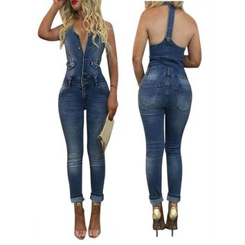 LMFCI7 2017 Promotion Elegant Jumpsuit Women New Sexy Jumpsuits Sleeveless Slim Back Hollow Pants Long Washed Harnessed Bodysuits