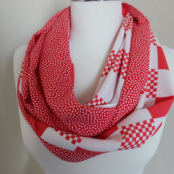Red White Scarf, Women's Scarf, Red Loop Scarf, Red White Scarf, Polka Dots Print Infinity Scarves, Green Red Scarf, Printed Scarves For Her