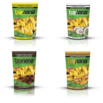 Barnana Organic Chewy Banana Bites Variety Pack 3.5 Oz Pouches - 4 Count