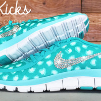 Nike Free Run 5.0 V4 PT Running Shoes Blinged Out With Swarovski Crystal Rhinestones - Teal Green/White/Gray Leopard Print