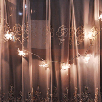 35 Bulbs Romantic White  Frangipani flower string lights for Patio,Wedding,Party and Decoration