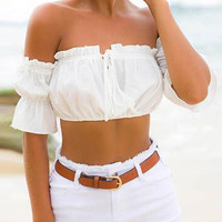 White Off Shoulder Tie Front Crop Top