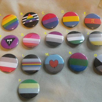 "Sexual or Romantic Orientation Pride Button - 1.5"" - LGBT - Gay - Queer - Asexual - Lesbian - Pansexual - Polyamory - Bisexual - Ally - Pin"