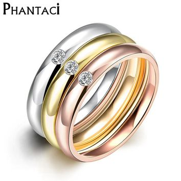 3 PCS/Set Zircon 316L Stainless Steel Wedding Rings For Women Gold Color Crystal Titanium Engagement Finger Rings Female 2016