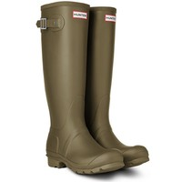 Womens Hunter Original Tall Festival Rain Snow Wellington Boots - Olive - 9