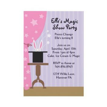 Girls Magic Show Birthday Party Invitations from Zazzle.com