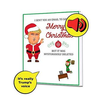 Talking Trump Santa and Hilary Elf Christmas Greeting Card - Real Voice - Holidays Christmas Presents - Funny Patriotic President Donald