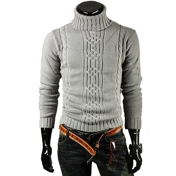 Male Sweater Pullover Men Male Brand Casual Slim Sweaters Men Solid High Lapel Jacquard Hedging Men'S Sweater