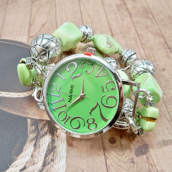 Large Chunky Watch, Lime Green Interchangeable Stretch Band and Watch, Beaded Watch Band, Stretch Band Watch, Watch Bracelet