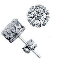 Top Seller!!!Super Shining 925 Silver Unique Crown Design Stud Earrings