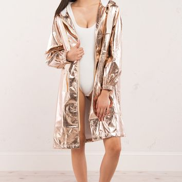 Metallic Duster Trench Coat in Rose Gold