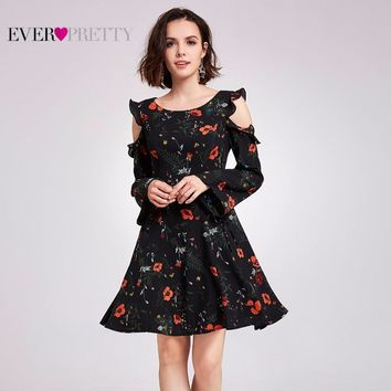 Ruffles Homecoming Party Dresses Ever Pretty New Fashion Casual A-Line Long Sleeve Short Dress 2018