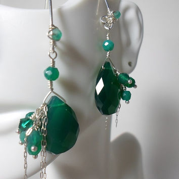 Teal Green Chrysoprase Gemstone Earrings with Cluster Dangle of Green Agate & Swarovski Crystal, Sterling Silver, HipChickJewelry