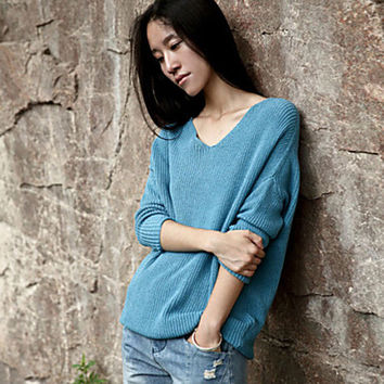 Women's Simple V Neck Solid Blue Almond Pullover