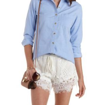 Lt Blue Long Sleeve Oxford Shirt by Charlotte Russe