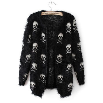 Long Casual Skull Pattern Cardigan Knitted Sweater FREE SHIPPING!!!