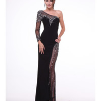Black Sheer Sequin One Shoulder Dress 2015 Prom Dresses