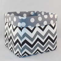 Black, Gray and White Chevron Fabric Basket For Storage Or Gift Giving