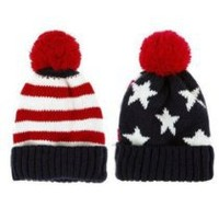 LOCOMO Men Women US Flag Knit Beanie Hat Cap Warm FAF023BLU Blue & Red