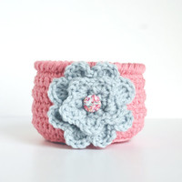 Pink crochet bowl, crocheted basket, mothers day, teacher gift, flower pot, storage, candy bowl, pink and blue, catchall, jewelry dish