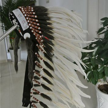 36 inch off white Chief Indian feather Headdress Native American War Bonnet  hand made indian headdress for halloween decor