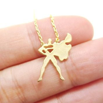 DC Comics Superman Silhouette Shaped Pendant Necklace in Gold | Super Hero Jewelry