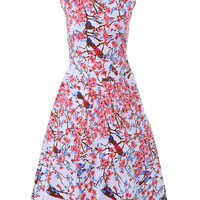 Vintage Round Neck Floral Print Fit and Flare Pink Dress