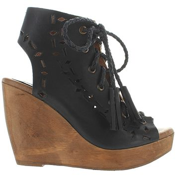 Musse & Cloud Caprice - Black Leather High Platform/Wedge Sandal Bootie