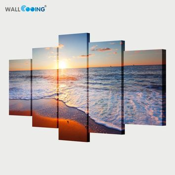 5 piece canvas art paint sunset seascape Beach decorative canvas wall painting Modular pictures oil paintings setting spray