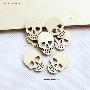Blank Natural Rustic Wooden Skull Halloween Favor Scrapbooking 30mm