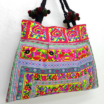 Thai Hill Tribe Bag Pom Pom Hmong Embroidered Ethnic Purse Woven Bag Hippie Bag Hobo Boho Bag Shoulder Bag Green Yellow Violet