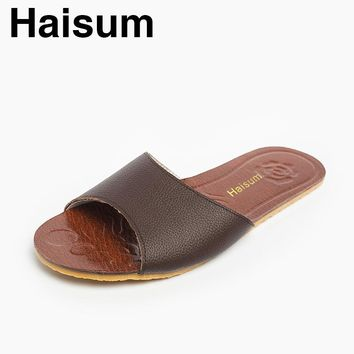 2017 Men's Summer Leather Slippers Haisum Outdoor Open Toes Shoes Slip On House Beach Sandals H-8805