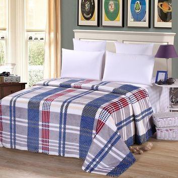 Hot sale 3 sizes Density Super Soft Flannel Blanket on the sofa bed textile cute plush fluffy blue Plaid stripes boys blanket