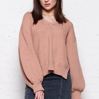 Balloon Sleeve V Neck Sweater - Blush